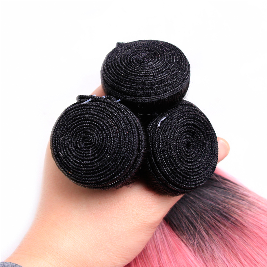 Indian hair 3 Bundle With Closure Rose Pink Ombre Color 100% Human Hair Extention 10-18 inch Non-remy Hair Free Shipping
