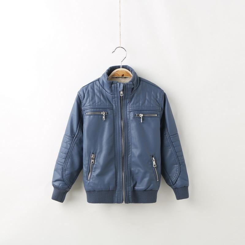 ФОТО kids winter jackets 2017 new turn down solid children jacket thicken warm winter boys coats pu leather kids outwear 3-12T