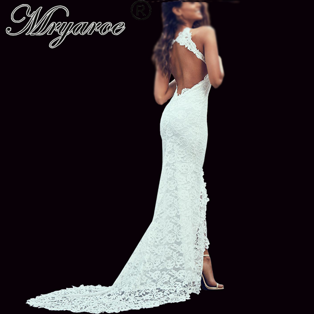 Mryarce Elegant Boho Wedding Dress Open back Soft Stretch Lace Flattering Front Slit Bohemian Bridal Gowns
