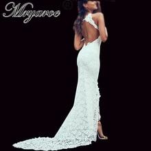 Mryarce robe de mariée élégante style bohémien, avec dos nu, en dentelle douce, extensible, fente frontale