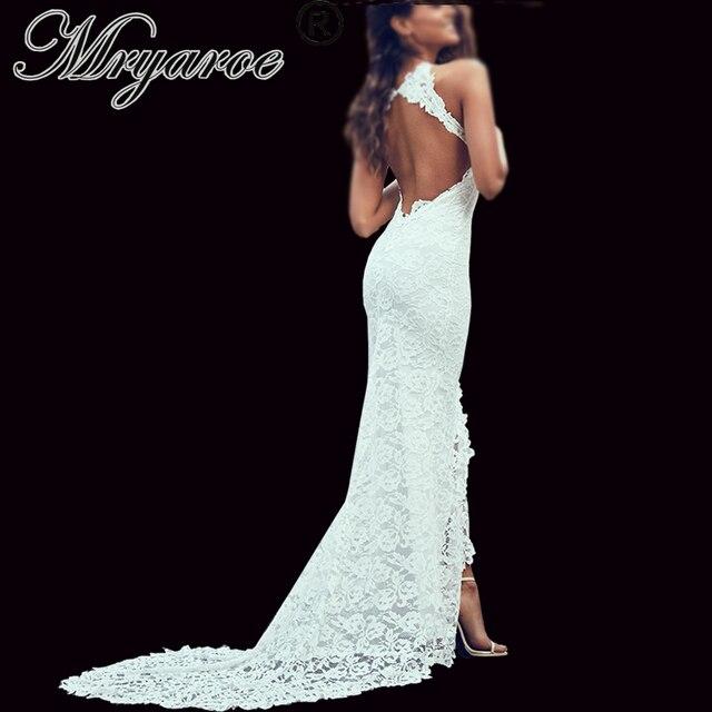 Mryarce أنيقة بوهو فستان الزفاف مفتوحة الظهر لينة تمتد الدانتيل الاغراء الجبهة الشق البوهيمي زي العرائس