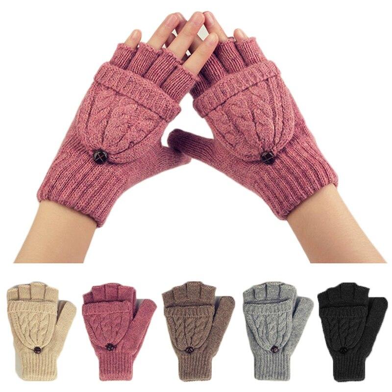 Winter Warme Frauen Handschuhe Wärmer Halbhandschuhe Mädchen Wolle Gestrickt Einfarbig Halbe Finger-handschuh