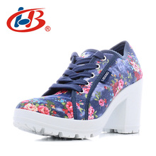 Купить с кэшбэком LIBANG Comfortable Platform Shoes Women Floral Woman High Heels Shoes 2017 High Canvas Shoes Thick Heels Wedg Womens Shoes Heels