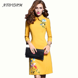 2017 autumn women new fashion doll collar elegant vintage embroidered slim casual party evening vestidos a.jpg 250x250