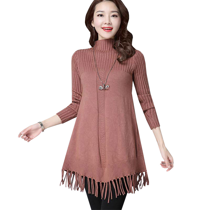 New Turtleneck Sweater Dress Women Autumn Winter Warm Thick Tassel Knitted Dresses Lady Slim Pullovers Vestidos Plus Size AB618