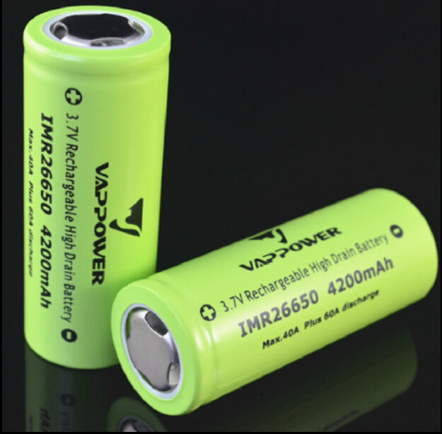 2PCS/LOT Vappower imr 26650 3.7v 4200mAh li-ion 40A high drain discharge rechargeable battery e cigarette 26650 mod mechanical