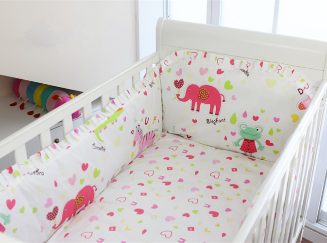 Promotion! 6PCS Cartoon Baby bedding sets crib set 100% cotton (bumpers+sheet+pillow cover)