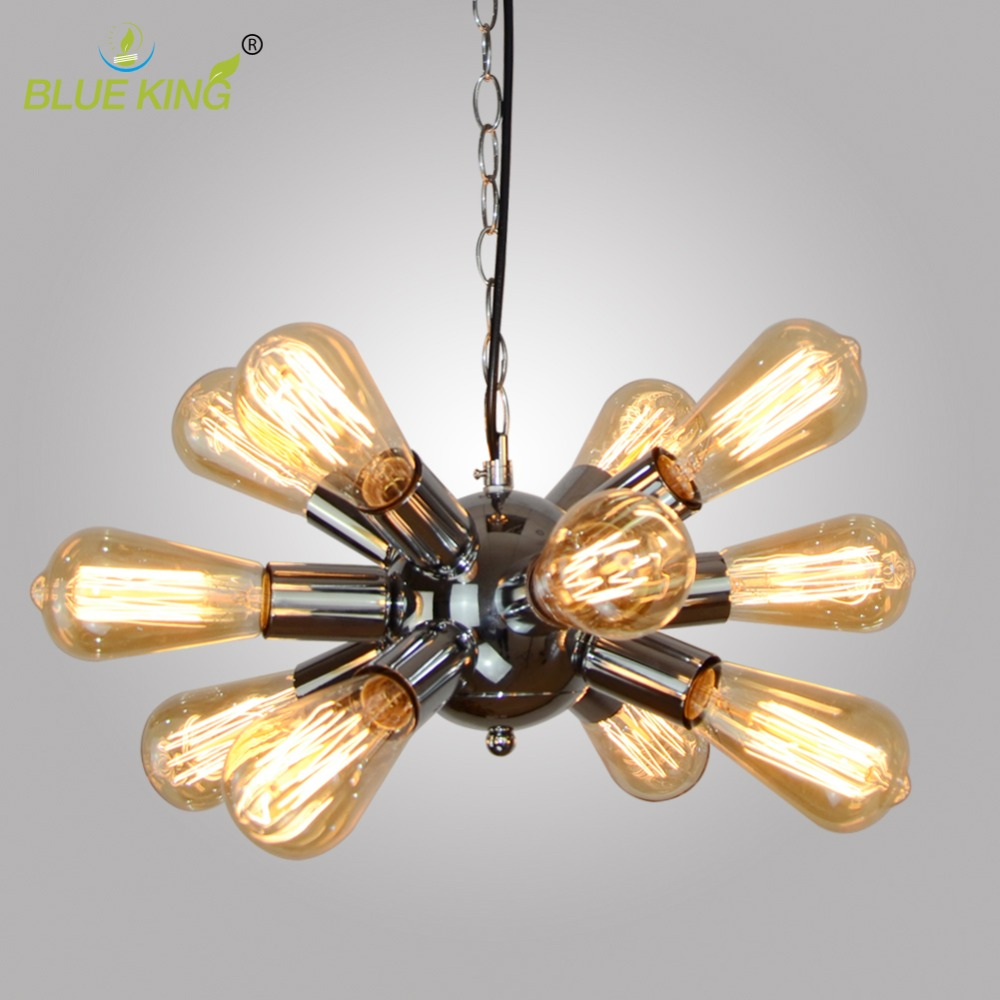 North europe modern vintage loft metal chrome chandeliers iron satellite chandelier light fixtures 12 lights hanging lamp in pendant lights from lights