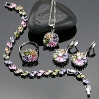 New Style 925 Sterling Silver Jewelry Set For Women Flower With Multicolor Created Topaz Earrings Pendant