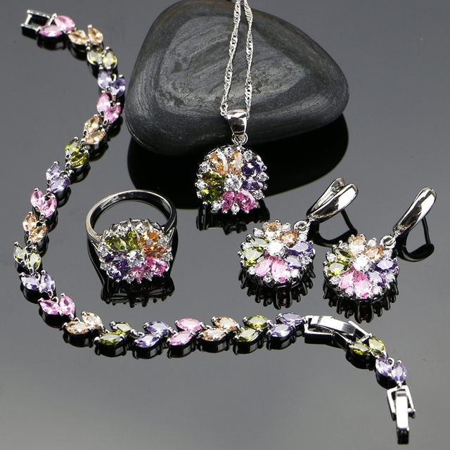 Bride 925 Sterling Silver Jewelry Sets For Women Flower With Multicolor Cubic Zi