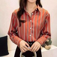 купить Lapel Button Striped Print Blouse 2019 Elegant Office Ladies Long Sleeve Chiffon Blouse Fashion Women Shirt Plus Size Blusas дешево