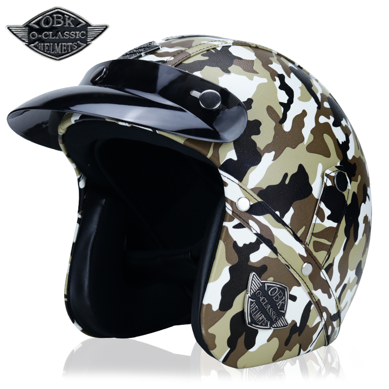 Open Face Leather Retro 3/4 Helmet Vintage Motorcycle Helmet Cafe Cruiser Half Helmet Harley MOTO Motorcycle Helmet Camouflage