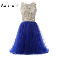 New Arrival Lace up Back Beadings Tulle A line Short Party Dress Sleeveless Royal Blue / Purple / Black Evening Gown Prom Dress