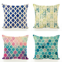 New 15 style 45x45cm Colorful linen Pillow Printing Dot geometric cushion pillowcase Sofa home decorative Waist Cover