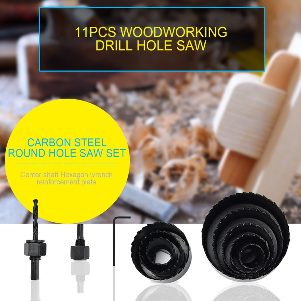 Drill Furadeira Wrench Carbon Steel Professional Hole Saw Set Mandrels Hex Saw Metal Alloys Circular RoundBits For Wood Sheet new 50mm concrete cement wall hole saw set with drill bit 200mm rod wrench for power tool