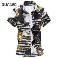 QUANBO Brand Clothing Plus size M 5XL 6XL 7XL Mens Floral Shirt New Summer Casual Shirts Mens Short Sleeve Print Shirt Camisa