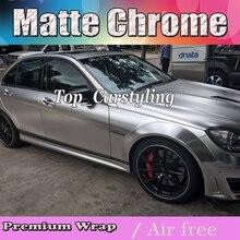 Cetim de luxo Prata Cromo Envoltório de Vinil Carro Embrulhar em Película Para styling Veículo Com Ar Rlease matt chrome Foil 1.52×20 m/Roll