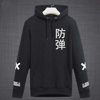 2018 Spring Autumn Fashion Bts Bangtan Boys Chinese Characters Printing Pullover Hoodies Kpop Fashion Sweatshirt Plus