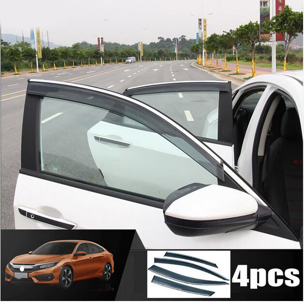 FIT FOR 2016 Honda CIVIC 4PCS SIDE WINDOW RAIN DEFLECTORS GUARD VISOR WEATHERSHIELDS DOOR SHADE WEATHER SHIELDS CHROME