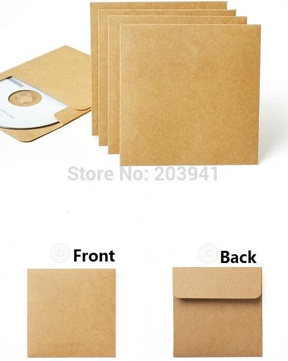 50pcs/lot Vintage Kraft Paper Envelopes CD Optical Disc Paper Bag/DVD Bag/  Gift Bag / Craft Envelope
