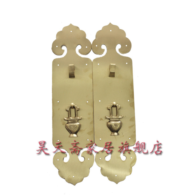 [Haotian vegetarian] copper door handle / Ming and Qing antique furniture, copper fittings HTC-0100 [haotian vegetarian] chinese antique ming and qing furniture copper fittings copper door copper handle 18cm black