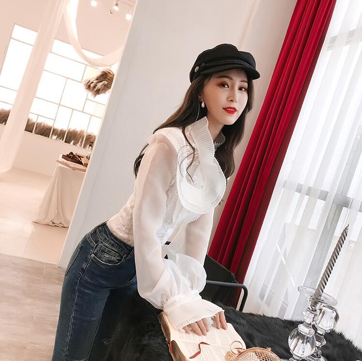 Automne Chemise Femmes Blouse Printemps Wang Hauts Volants Plissée Mode Élégante Blusas Whitney Bureau À Dame 2019 6qtvAf