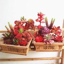 Бонсай, искусственные суккуленты, свадебные украшения для рождественской вечеринки, искусственные растения, трава, листья, сделай сам, аксессуары для цветочной композиции