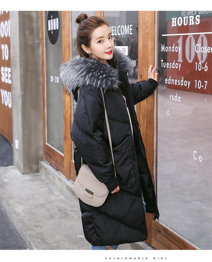 Maternity winter coat Pregnant women pregnant women cotton Black coat large size coat tide tan collar collar long hooded jacket pregnant women autumn and winter new windbreaker jacket pregnant women loose casual jacket pregnant women long cotton coat
