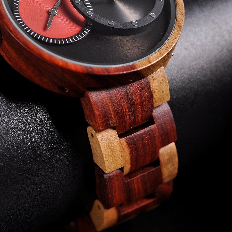 Watch Men 2 Time Zone Wooden Quartz Watches Women Design Men's Gift Wristwatches In Wooden Box W-R10 2