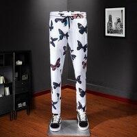 White Sweat Pants Men track pants for men streetwear comfortable cool butterfly pattern Men's casual full length trousers 1018