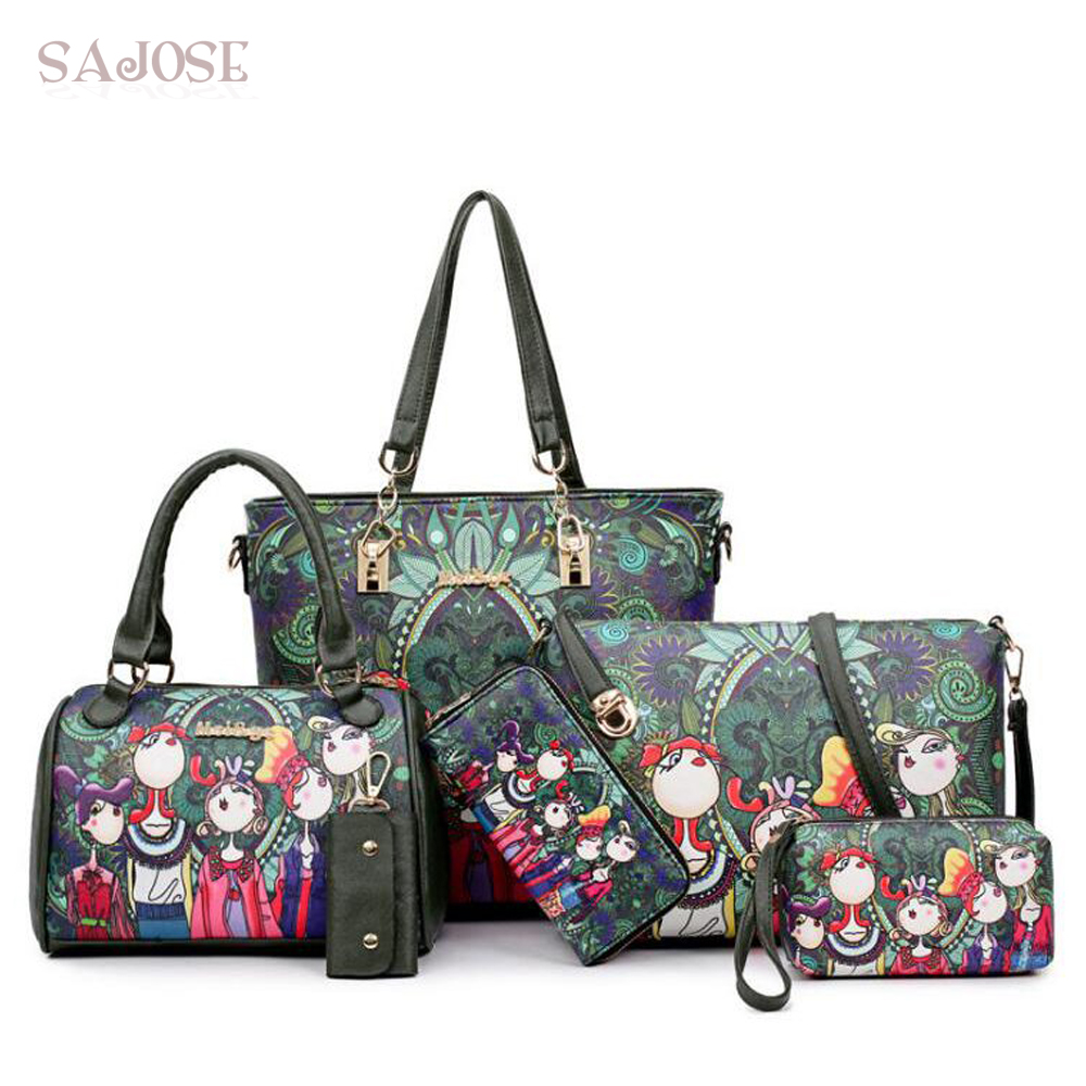 Women's Composite Bags Ladies Green Character Leather Handbag Fashion Cartoon Green Forest Casual Tote Shoulder Key Bag 6pc/set