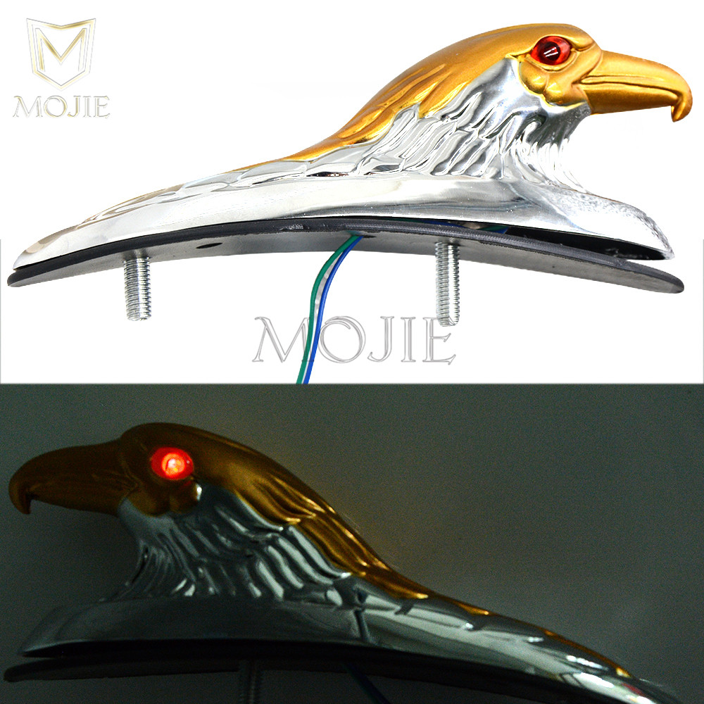 perfk Motorcycle Chrome Front Fender Bonnet Eagle Head with Red Eyes for Honda