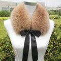 Симпатичные ленты лук узел настоящее фокс меховым воротником женщины черный/белый/кофе твердые мягкая теплая осень зима короткие стиль дамы шарф шали