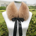 Lindo arco de la cinta nudo real fox cuello de piel de las mujeres negro/blanco/café sólido suave caliente del invierno del otoño corto estilo de las señoras chales bufanda