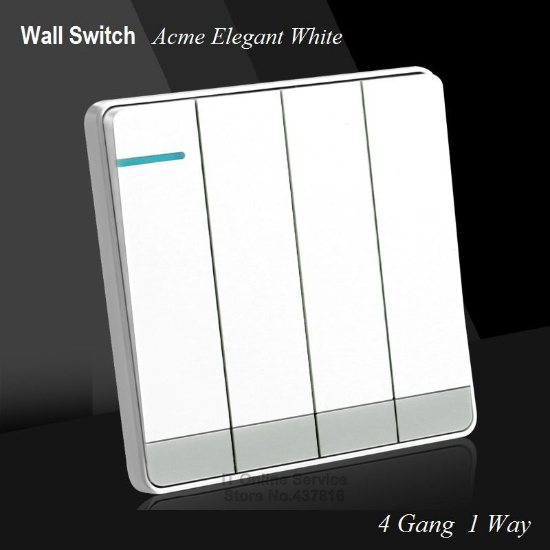Large Panel Wall Switch acme elegant white Simple Fashion Decoration Switch 4 Gang 1 Way Single Control Switch 86mm*86mm luxury champagne gold wall switch round button switch 3 gang double control light switch simple and fashion 86mm 86mm