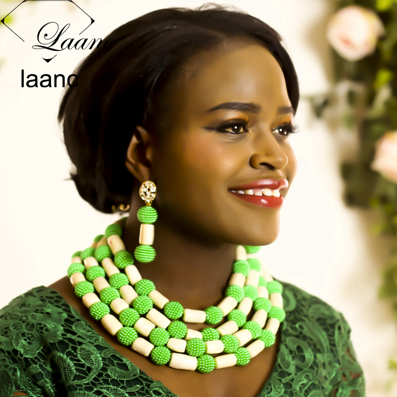 Laanc Brand Ivory White Coral and Green Simulated Pearl African Jewelry Sets Nigerian Wedding Beads AL315Laanc Brand Ivory White Coral and Green Simulated Pearl African Jewelry Sets Nigerian Wedding Beads AL315