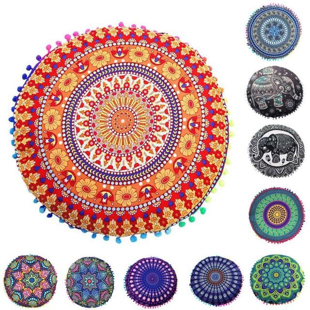 80*80 cm Indien Mandala Housse De Coussin Rond Oreillers De