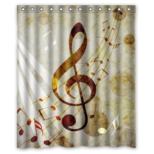 CHARMHOME Personalized Lovely Melody Music Note Machine Washable Super Soft Shower  Curtain 60u0027(w