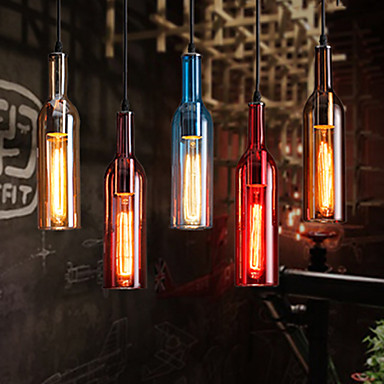 Retro Glass Bottle LED Pendant Light Fixtures American Restaurant Hotel Bar Coffee Hanging Lamp Suspension Luminaire Lustre