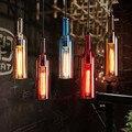 Retro Glass Bottle LED Pendant Light Fixtures American Restaurant Hotel Bar Coffee Hanging Lamp Suspension Luminaire Lustre