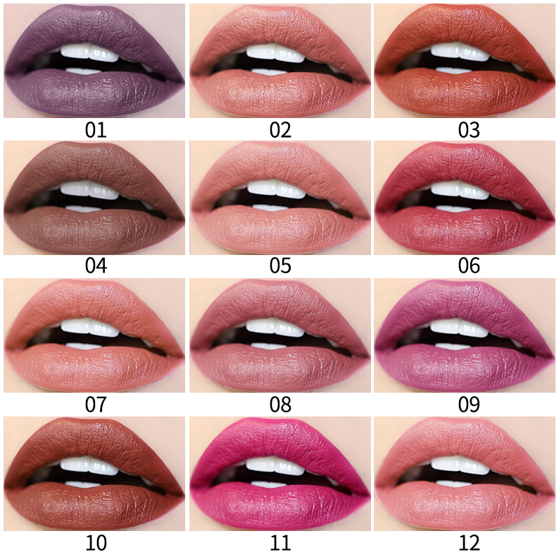 12 colors Liquid Lipstick Matte Lipstick QIC matte velvet lip glossHot Sexy Colors Lip Paint Waterproof Long Lasting Lip Gloss