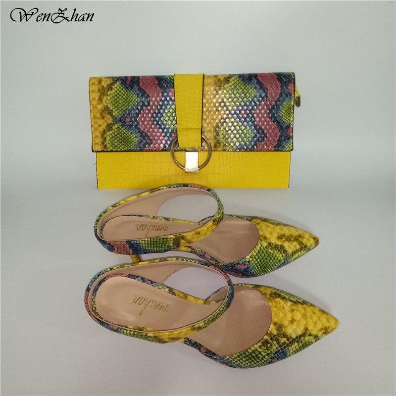 WENZHAN jolies chaussures à talons bas chaussures en cuir imprimé serpent 7 cm femmes chaussures pompes avec pochettes assorties ensembles 36-43 710-24