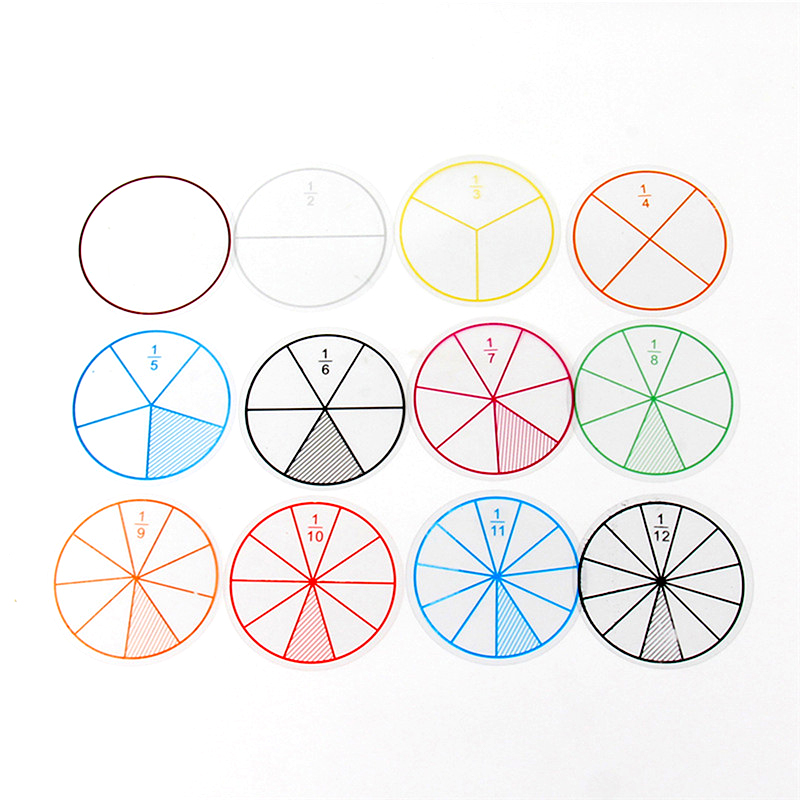 Montessori Educational Toys For Children Early Learning Kids Intelligence Teaching Aids Math Chips Fractions Circles 12 PCS/Lot