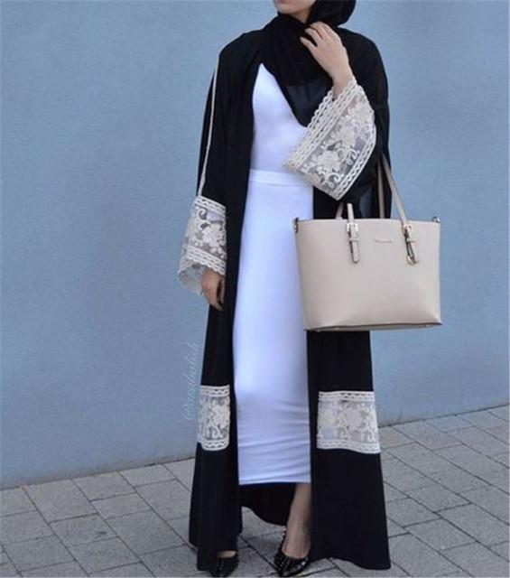 2016 Musulmán encaje cardigan chilaba turco mujeres ropa abrigo largo dubai moda de alta calidad de la rebeca outwear