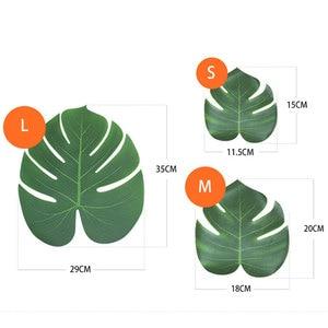 Image 4 - 빈티지 웨딩 장식 테이블 천으로 공급 12 개/몫 패브릭 녹색 인공 팜 잎 하와이 테마 파티 장식, Q
