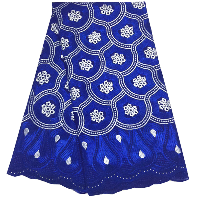 (5yards/pc) wonderful embroidered African cotton lace fabric royal blue Swiss voile lace fabric for making party dress  CLS164(5yards/pc) wonderful embroidered African cotton lace fabric royal blue Swiss voile lace fabric for making party dress  CLS164