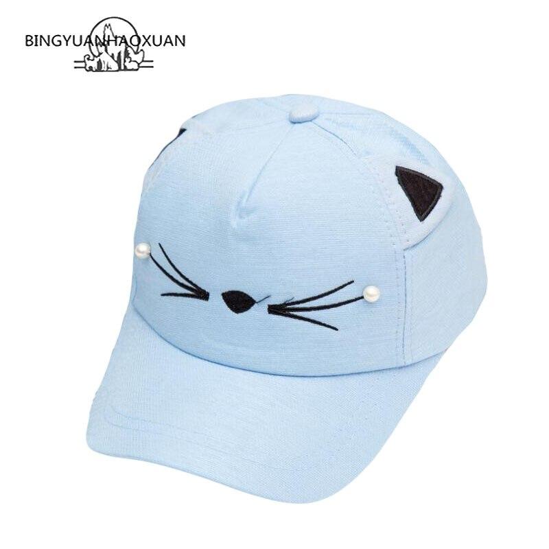 BINGYUANHAOXUAN 2018 New Fashion Summer Girl Cartoon Kids Adjustable Baseball Cap Hip Hop Hats Solar Protection Hat 2-7 Years