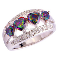 Wholesale Romantic Lovely Heart Cut  Mystic Rainbow & White Sapphire 925 Silver Ring Size 6 7 8 9 10 11 12 Free Shipping