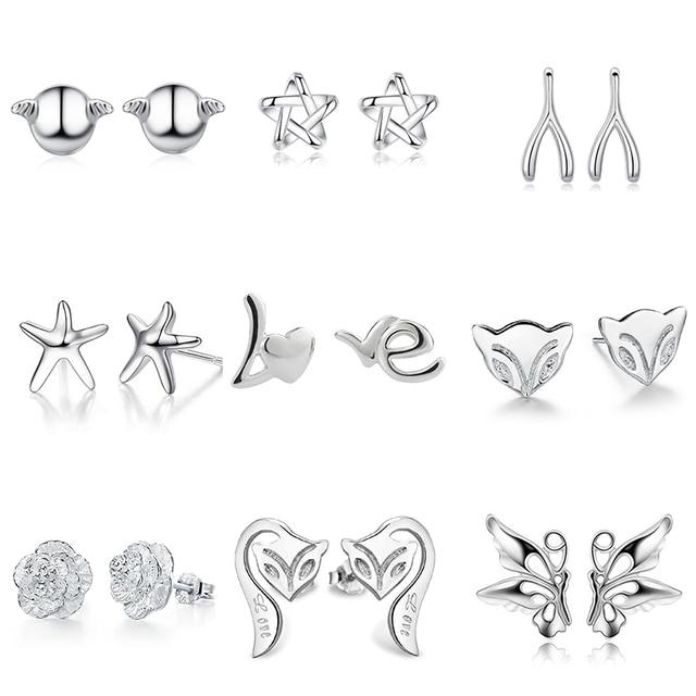 925 Sterling Silver Splicing Cute Animal Stud Earrings For Women Casual Style Girl Earings Personality Jewelry