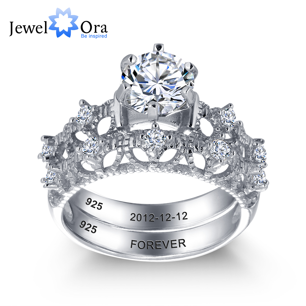 Personalized Engrave Wedding Ring Bridal Sets 925 Sterling Silver Round  Rings For Women (jewelora Ri101897